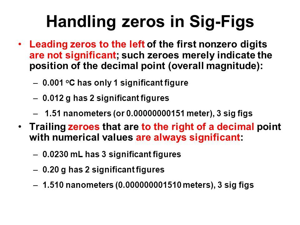Handling zeros in Sig-Figs
