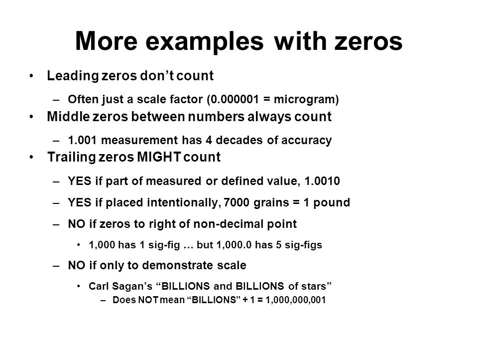 More examples with zeros