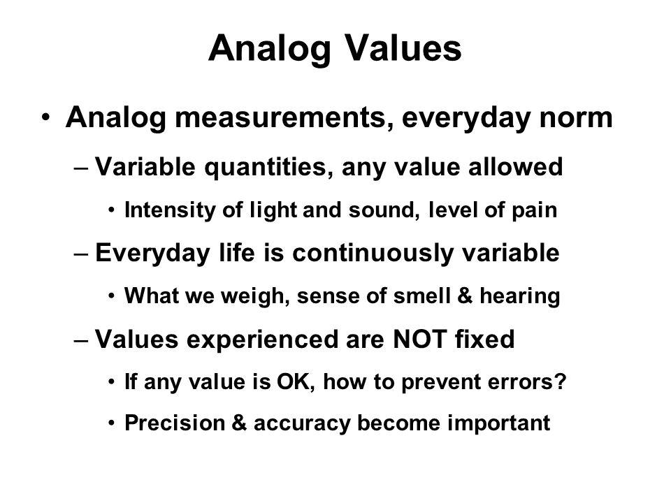 Analog Values Analog measurements, everyday norm