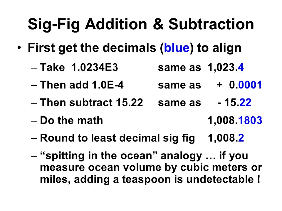 Sig-Fig Addition & Subtraction
