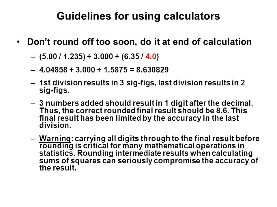 Guidelines for using calculators
