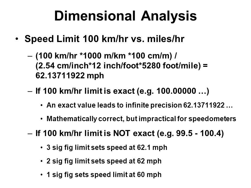 Dimensional Analysis Speed Limit 100 km/hr vs. miles/hr