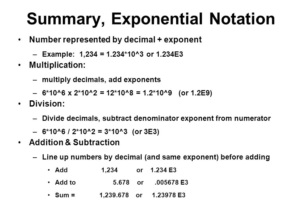 Summary, Exponential Notation