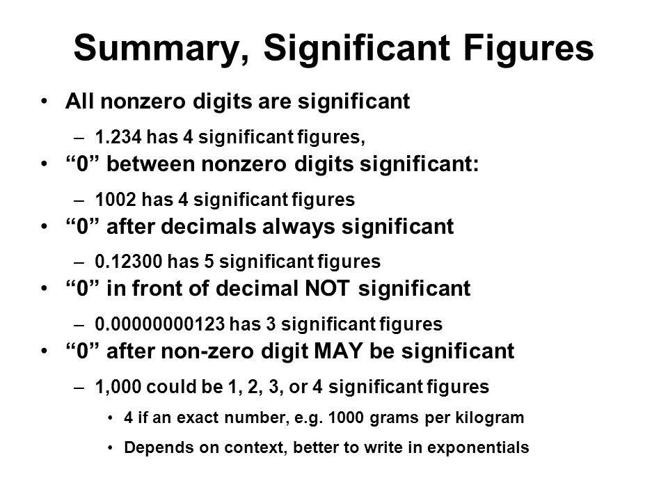 Summary, Significant Figures