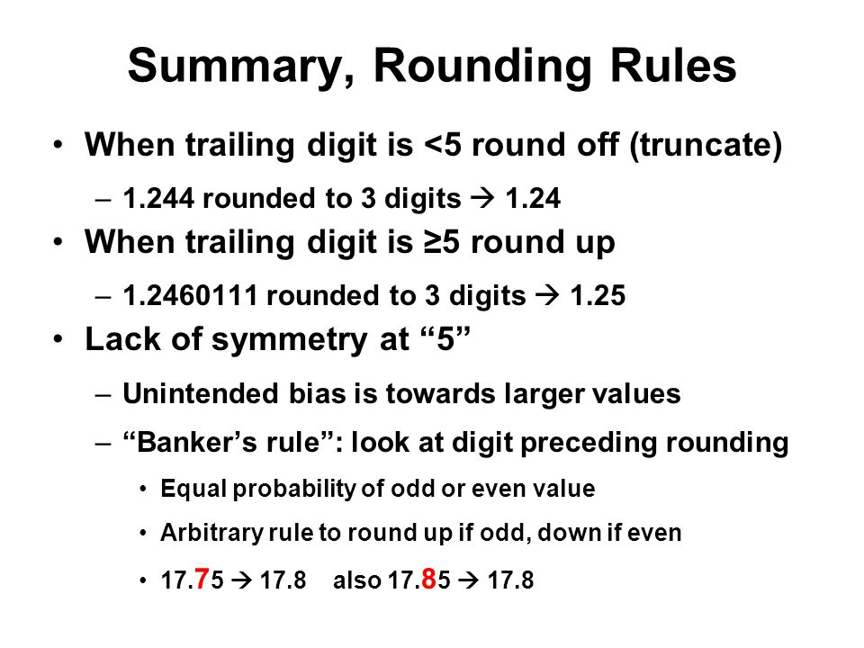 Summary, Rounding Rules
