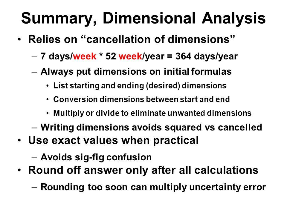 Summary, Dimensional Analysis