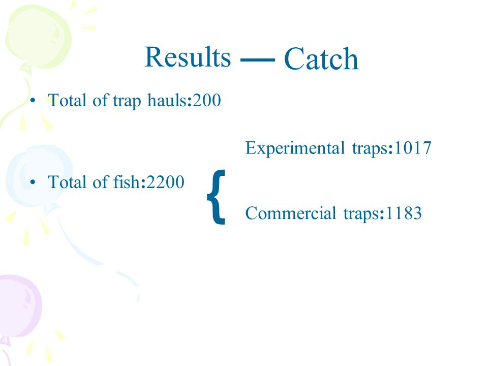 ﹛ Catch Results Total of trap hauls:200 Total of fish:2200