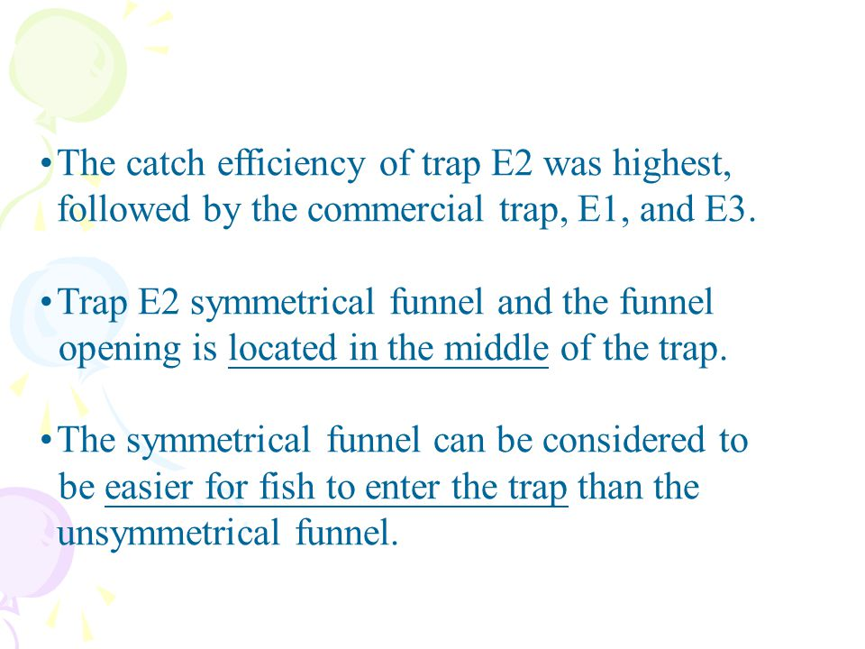 The catch efficiency of trap E2 was highest, followed by the commercial trap, E1, and E3.