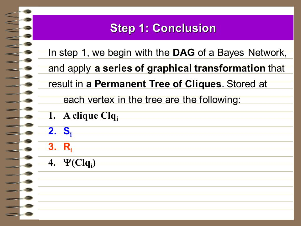 Step 1: Conclusion In step 1, we begin with the DAG of a Bayes Network, and apply a series of graphical transformation that.