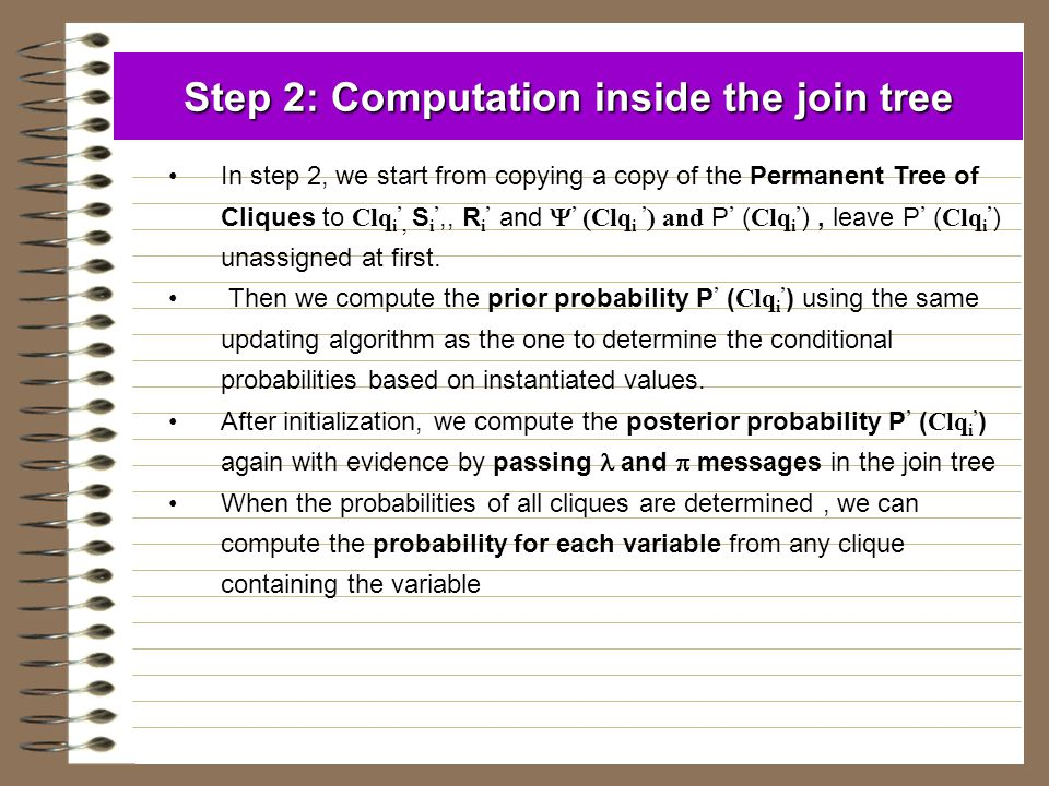Step 2: Computation inside the join tree