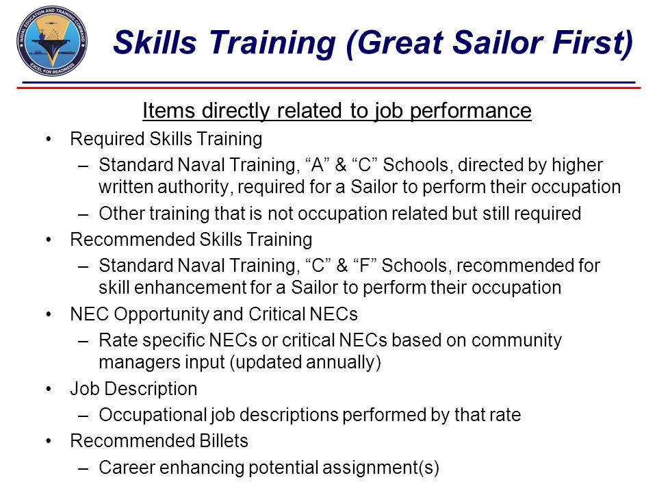 Skills Training (Great Sailor First)