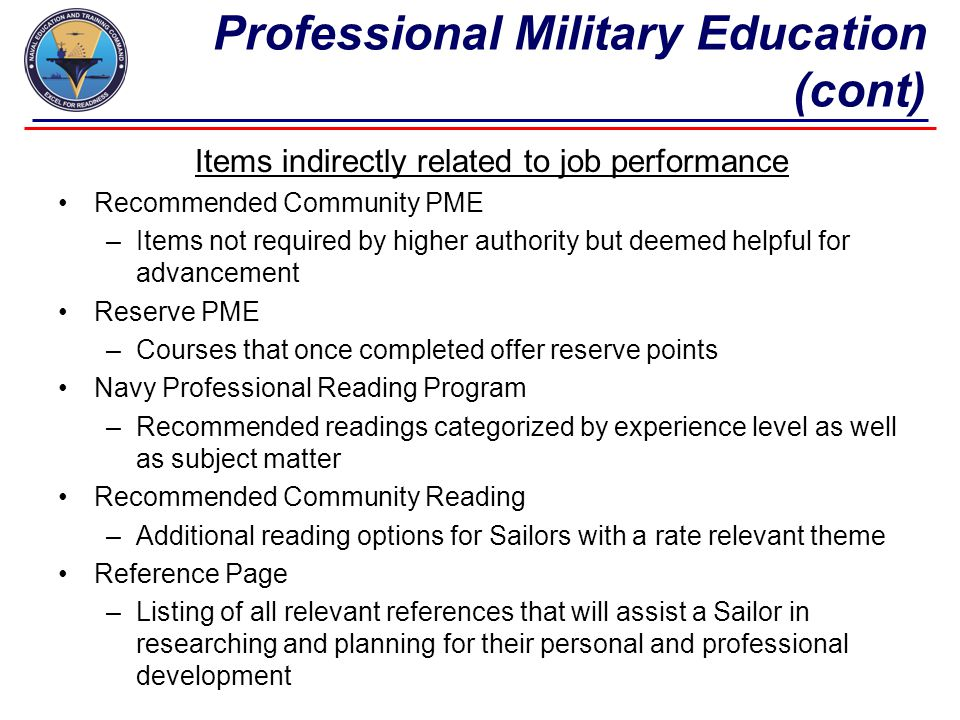 Professional Military Education (cont)