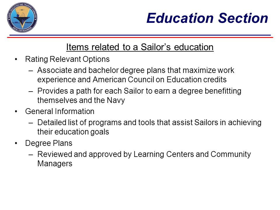 Items related to a Sailor's education