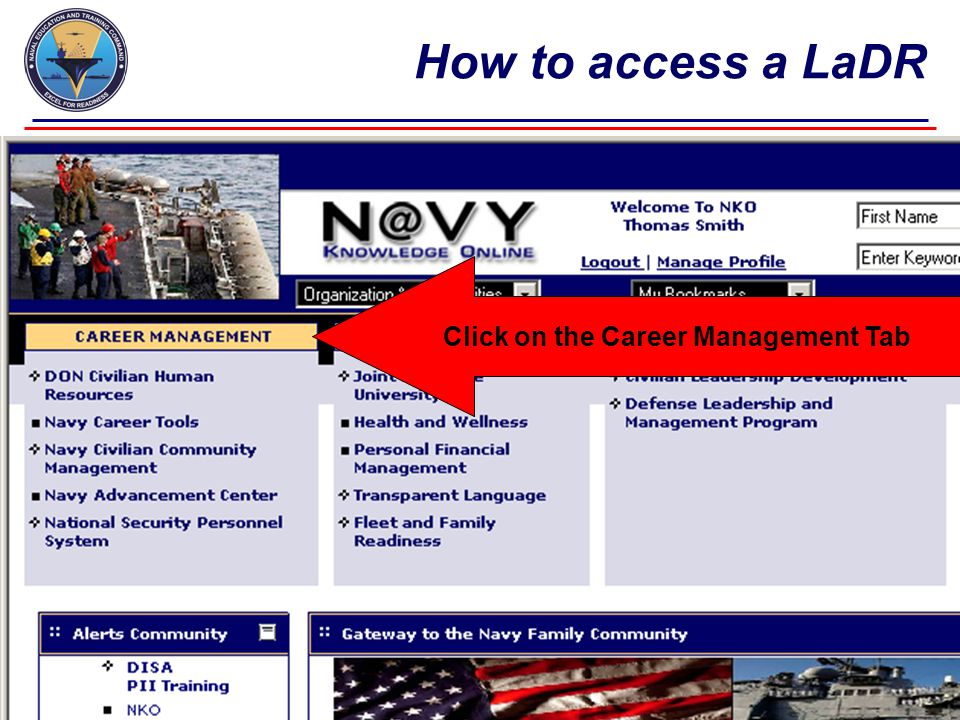 Click on the Career Management Tab