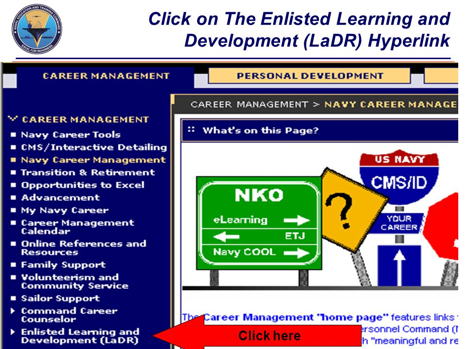 Click on The Enlisted Learning and Development (LaDR) Hyperlink