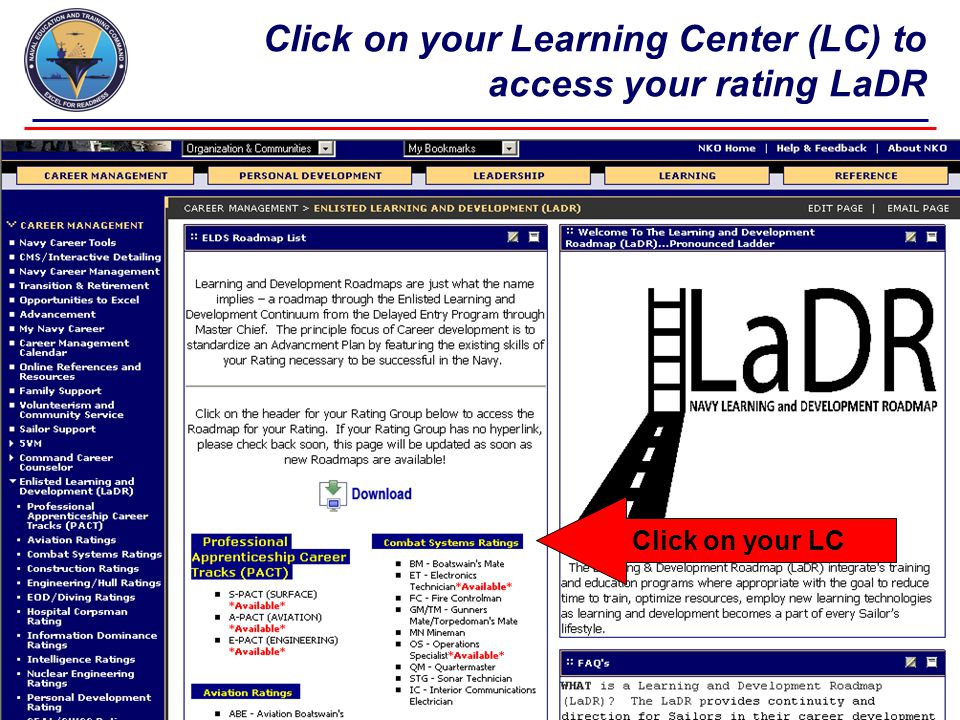 Click on your Learning Center (LC) to access your rating LaDR