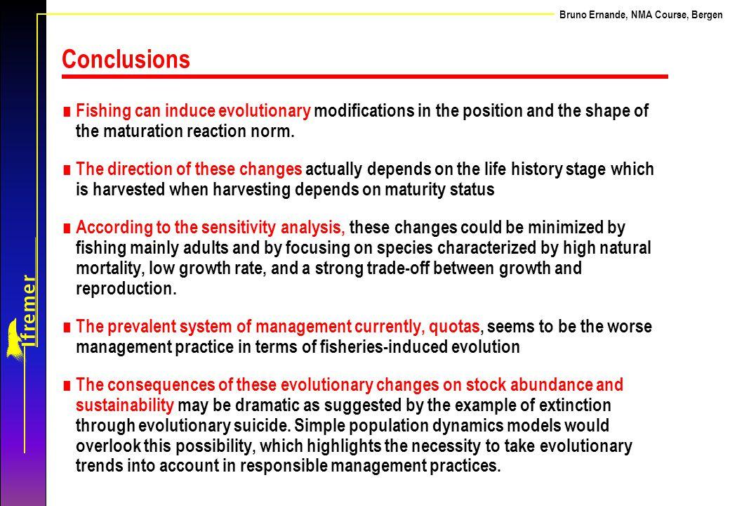 Ernande et al. Bruno Ernande, NMA Course, Bergen. Conclusions.