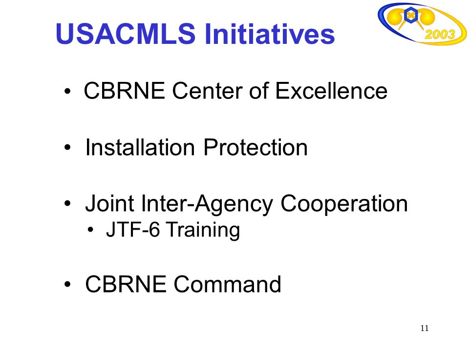 USACMLS Initiatives CBRNE Center of Excellence Installation Protection