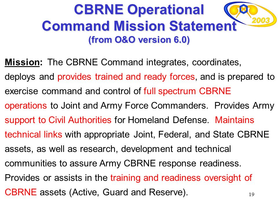 CBRNE Operational Command Mission Statement (from O&O version 6.0)
