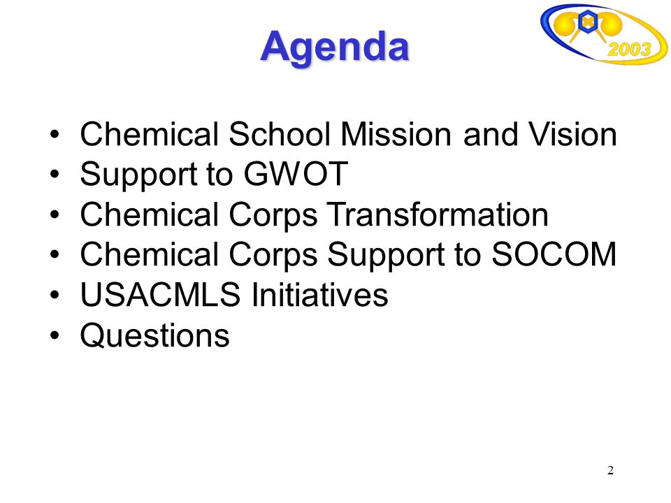 Agenda Chemical School Mission and Vision Support to GWOT