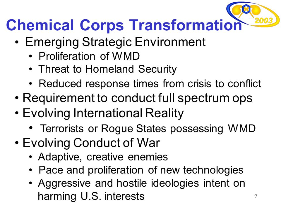 Chemical Corps Transformation