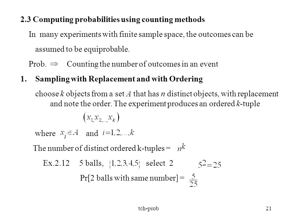 2.3 Computing probabilities using counting methods