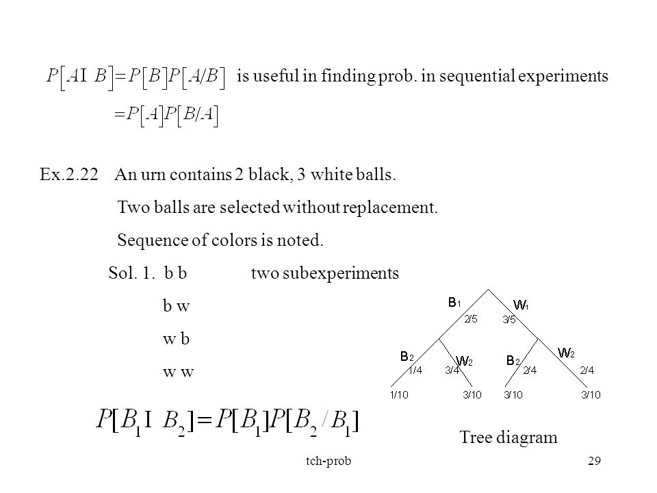 is useful in finding prob. in sequential experiments