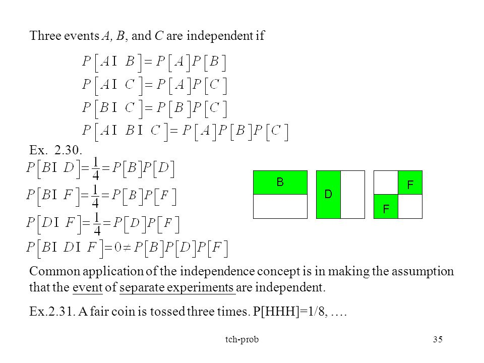 Three events A, B, and C are independent if