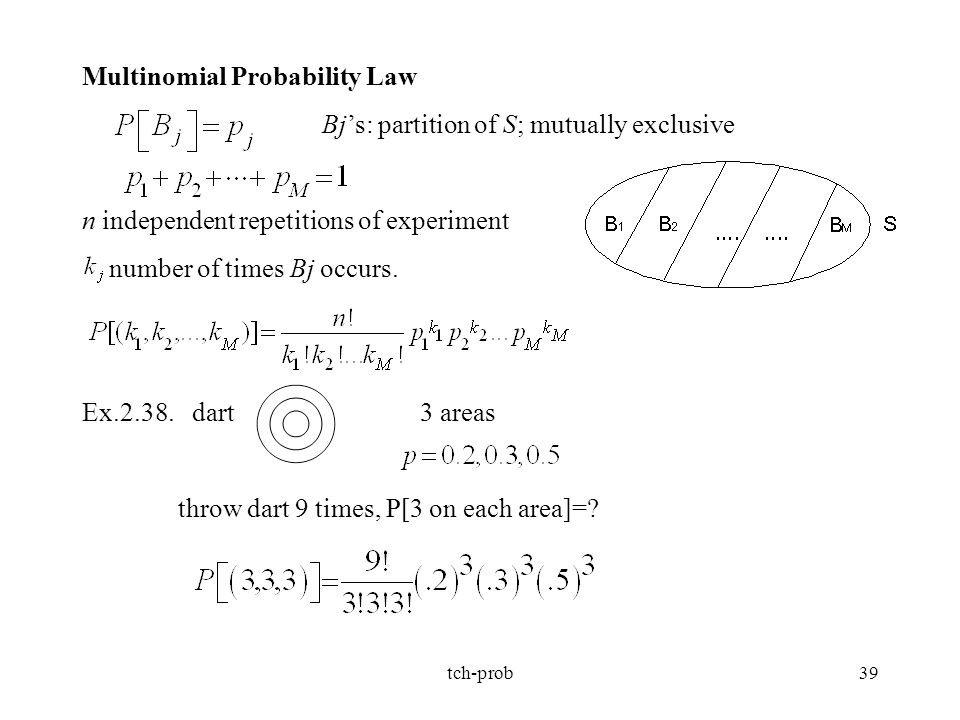 Multinomial Probability Law Bj's: partition of S; mutually exclusive