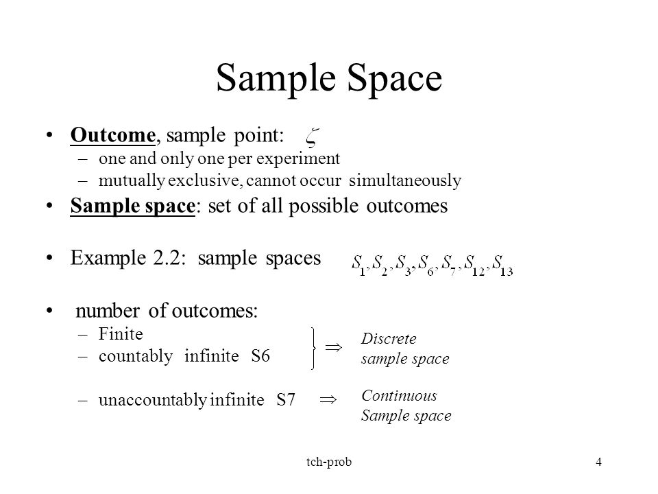 Sample Space Outcome, sample point: