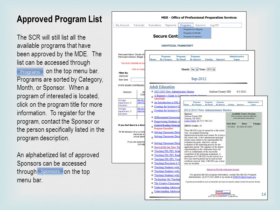 Approved Program List