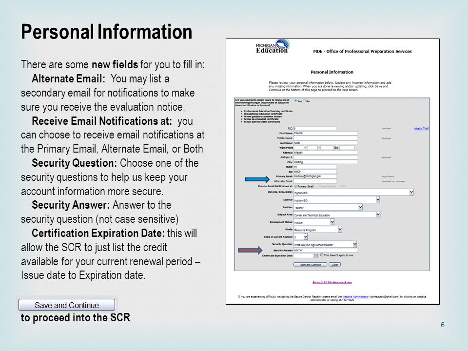Personal Information There are some new fields for you to fill in: