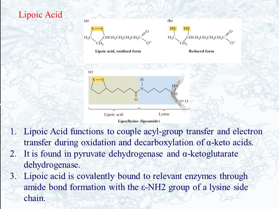 Lipoic Acid Lipoic Acid functions to couple acyl-group transfer and electron transfer during oxidation and decarboxylation of α-keto acids.