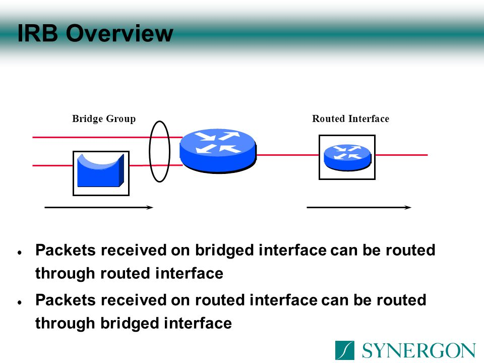 IRB Overview Bridge Group. Routed Interface.