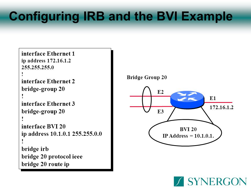 Configuring IRB and the BVI Example