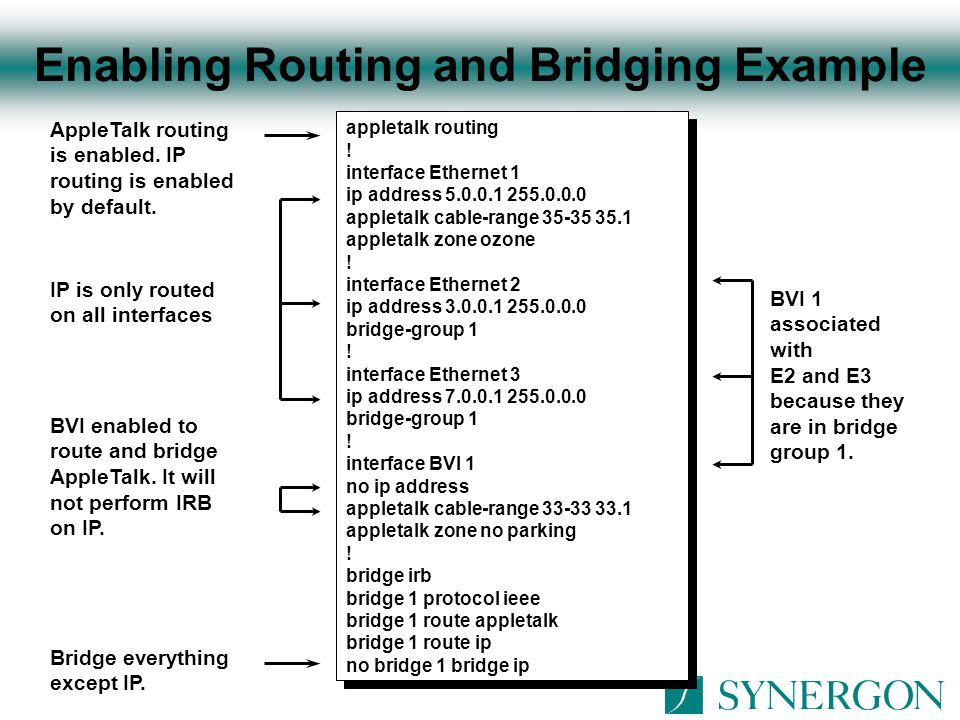 Enabling Routing and Bridging Example