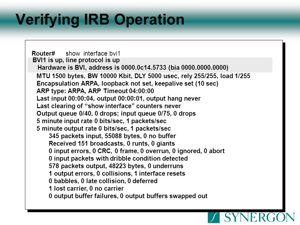 Verifying IRB Operation