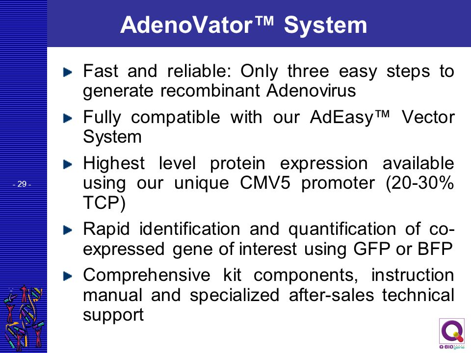 AdenoVator™ System Fast and reliable: Only three easy steps to generate recombinant Adenovirus. Fully compatible with our AdEasy™ Vector System.