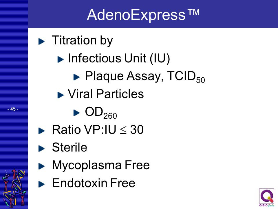 AdenoExpress™ Titration by Infectious Unit (IU) Plaque Assay, TCID50