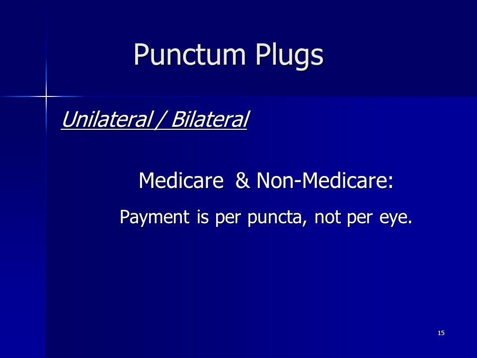 Punctum Plugs Unilateral / Bilateral Medicare & Non-Medicare: