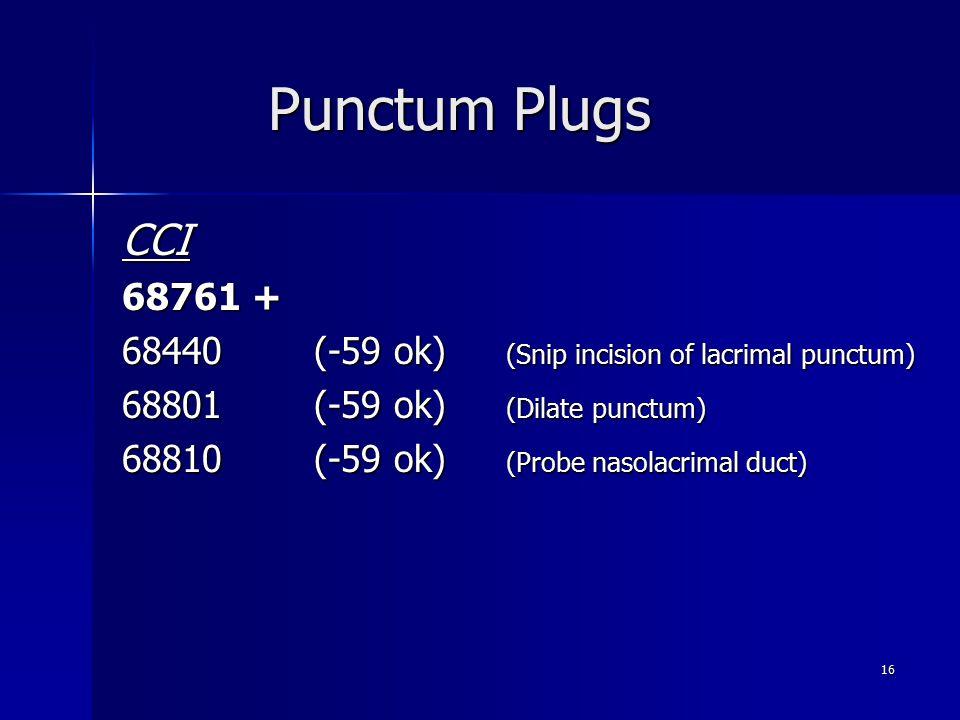 Punctum Plugs CCI. 68761 + 68440 (-59 ok) (Snip incision of lacrimal punctum) 68801 (-59 ok) (Dilate punctum)