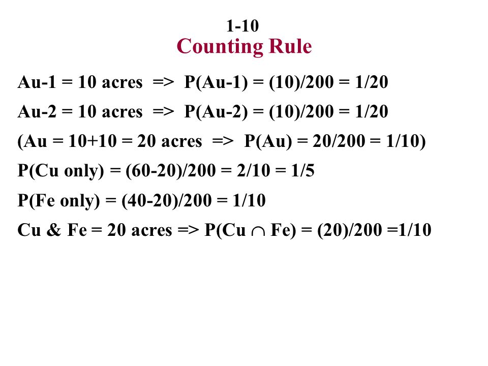 Counting Rule Au-1 = 10 acres => P(Au-1) = (10)/200 = 1/20