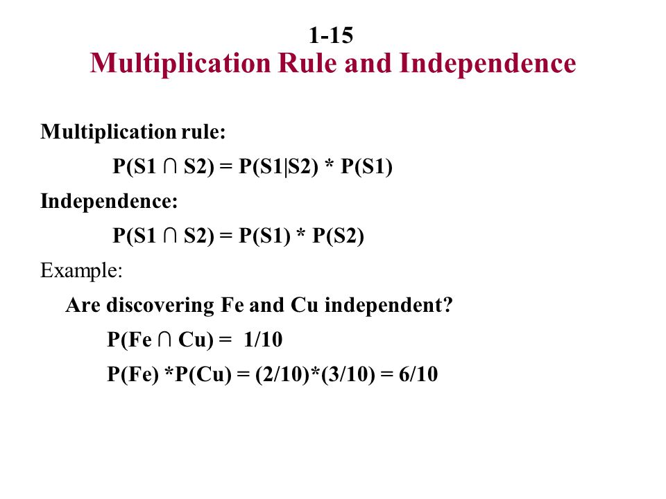 Multiplication Rule and Independence