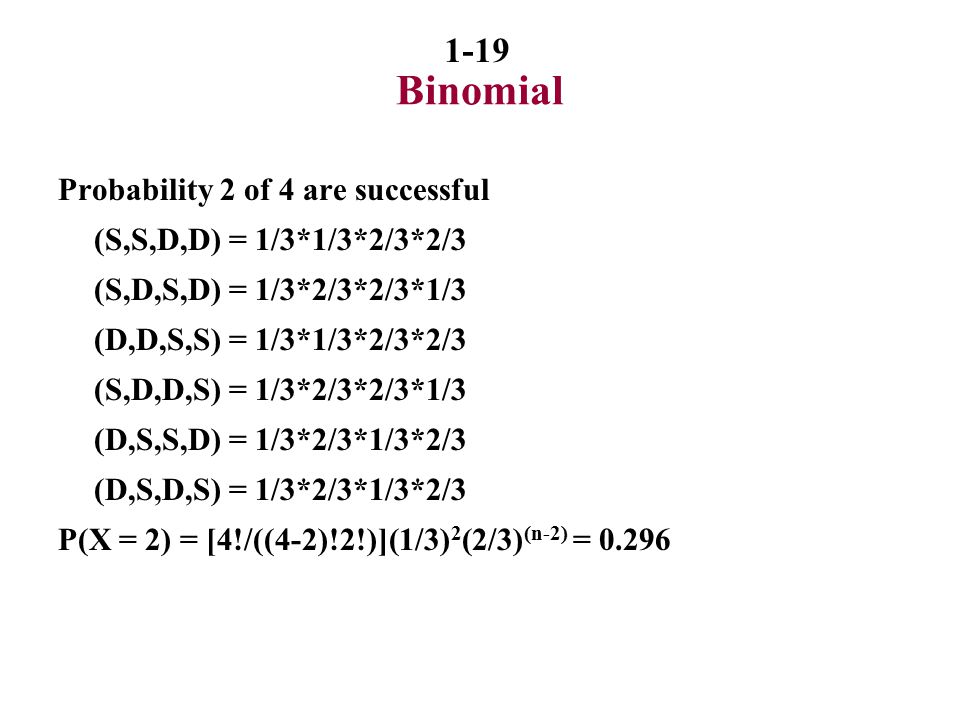 Binomial Probability 2 of 4 are successful (S,S,D,D) = 1/3*1/3*2/3*2/3