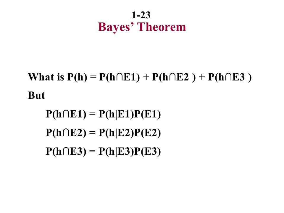 Bayes' Theorem What is P(h) = P(h∩E1) + P(h∩E2 ) + P(h∩E3 ) But