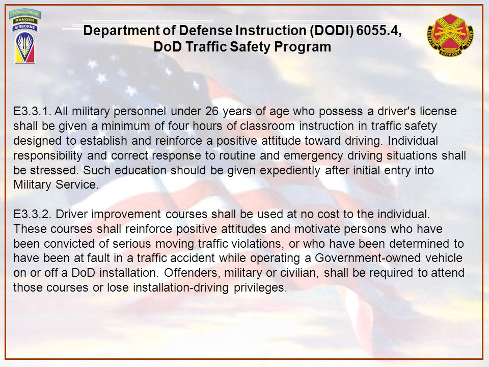 Department of Defense Instruction (DODI) 6055.4,