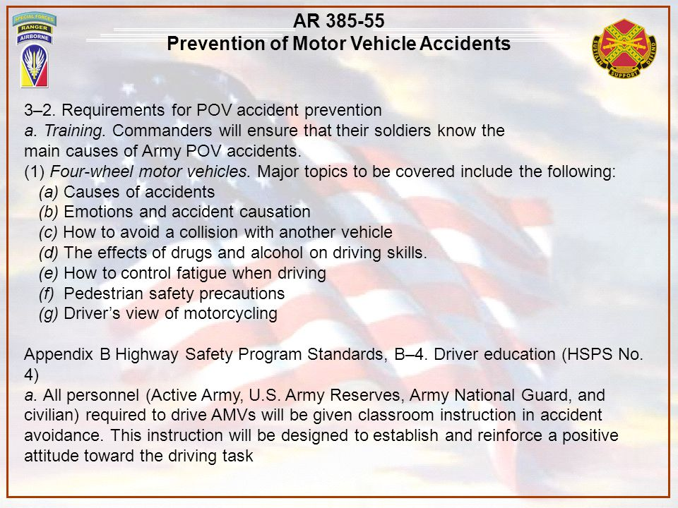 Prevention of Motor Vehicle Accidents