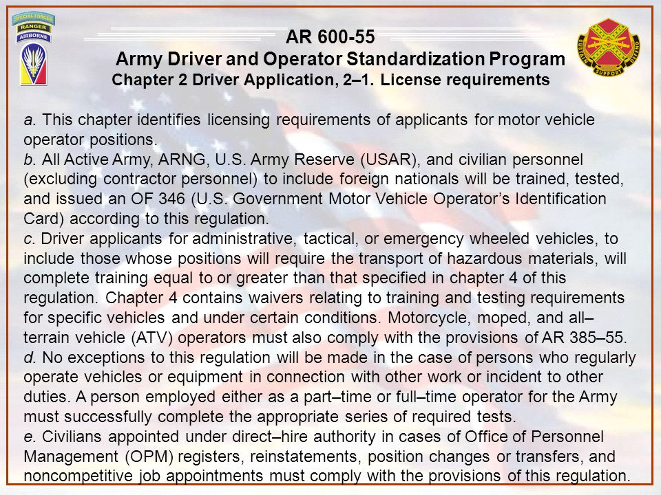 Army Driver and Operator Standardization Program