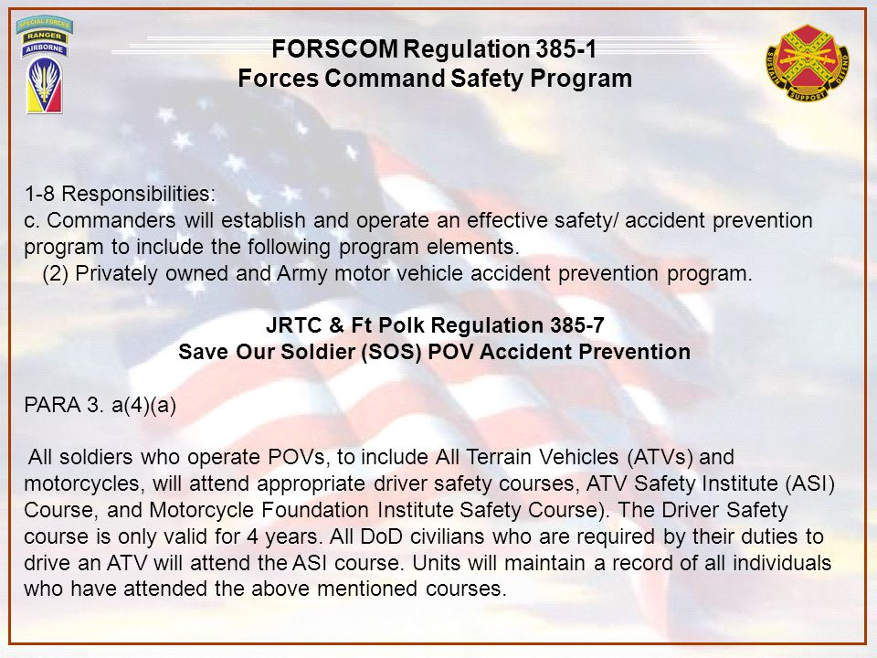 Forces Command Safety Program JRTC & Ft Polk Regulation 385-7