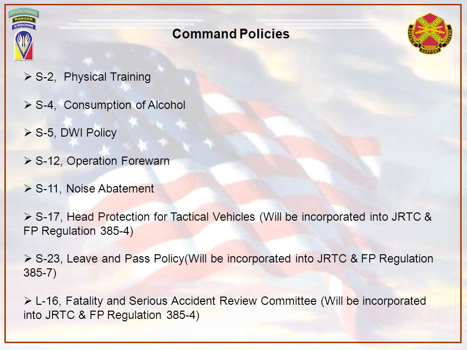 Command Policies S-2, Physical Training S-4, Consumption of Alcohol